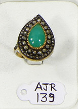 Drop shape Ring 14kt Gold .925 Sterling Silver with Chrysoprase & Pave D... - $210.00
