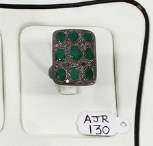 Ring Oxidized Resizable .925 Sterling Silver with Emerald & Pave Diamonds - $210.00