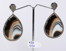 Women Earrings with  14kt Gold & .925Sterling Silver with Onyx and Pave ... - $479.40