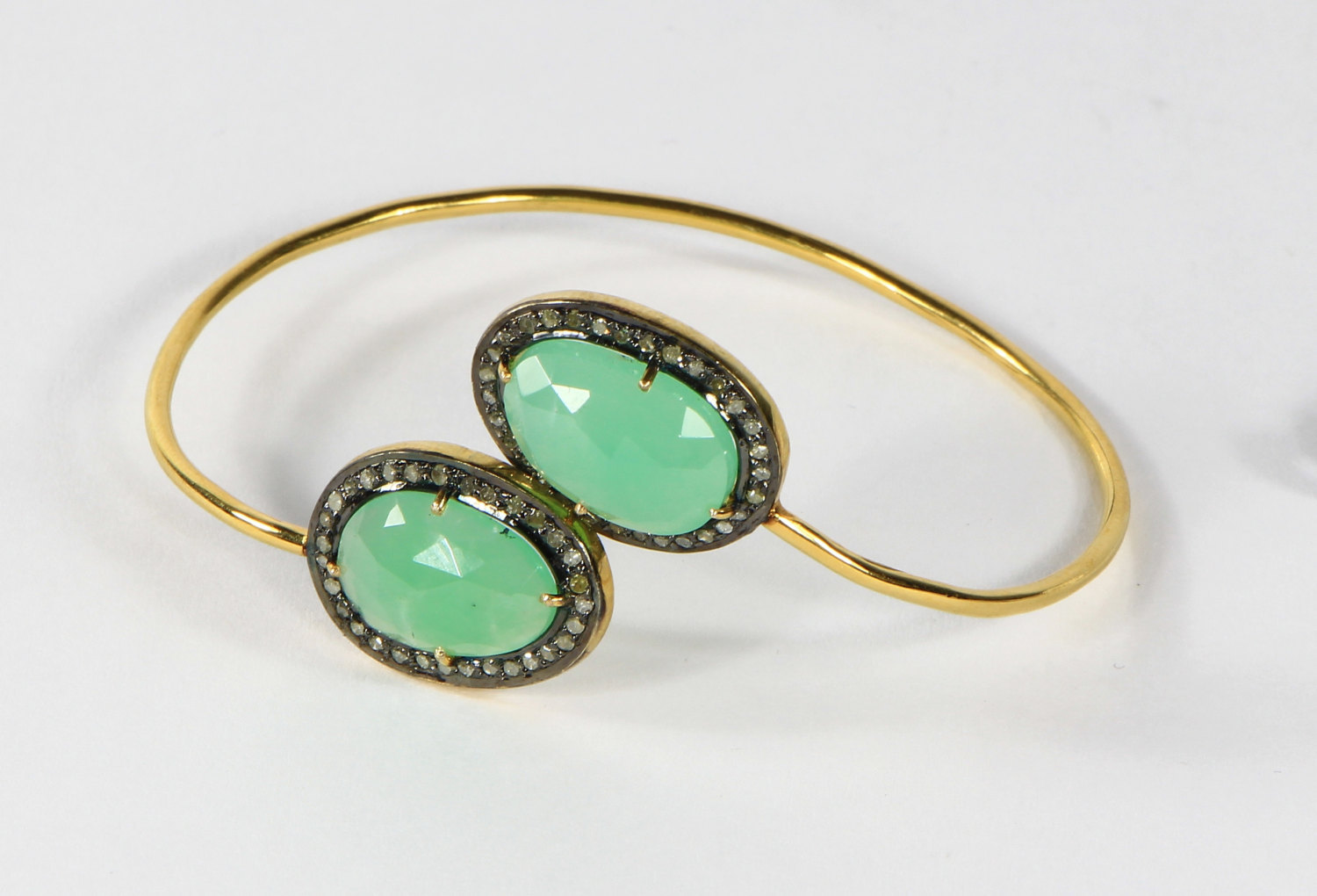 Open Bangle with 14ktGold & .925SterlingSilver with Chrysoprase & Pave Diamonds
