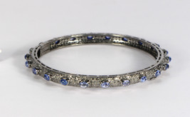 Round Openable Bangle .925 Sterling Silver with Pave Diamonds & Blue Sap... - $423.00