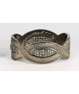 Oval Textured Women LeafDesign Openable Cuff .925SterlingSilver with Pav... - $954.00