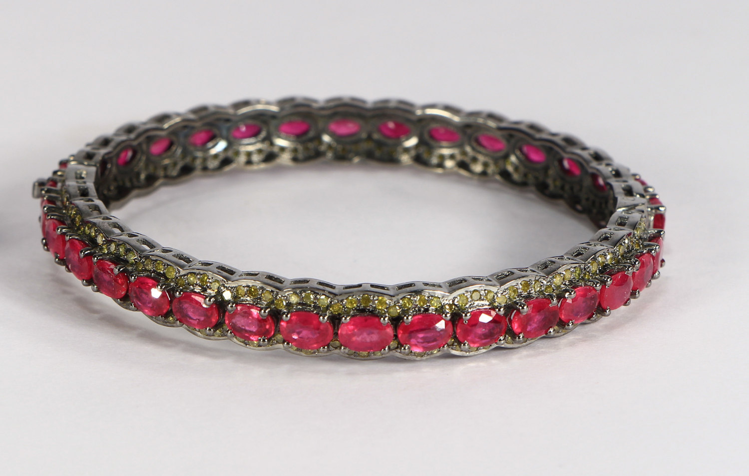Round Women Openable Bangle .925 Sterling Silver with Ruby & Colored Diamonds