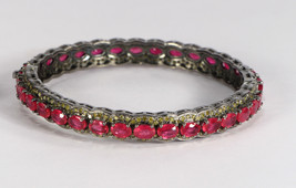 Round Women Openable Bangle .925 Sterling Silver with Ruby & Colored Dia... - $1,026.00