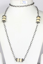 Handmade Women Organic Necklace .925Sterling Silver with Bone and Pave ... - $479.40