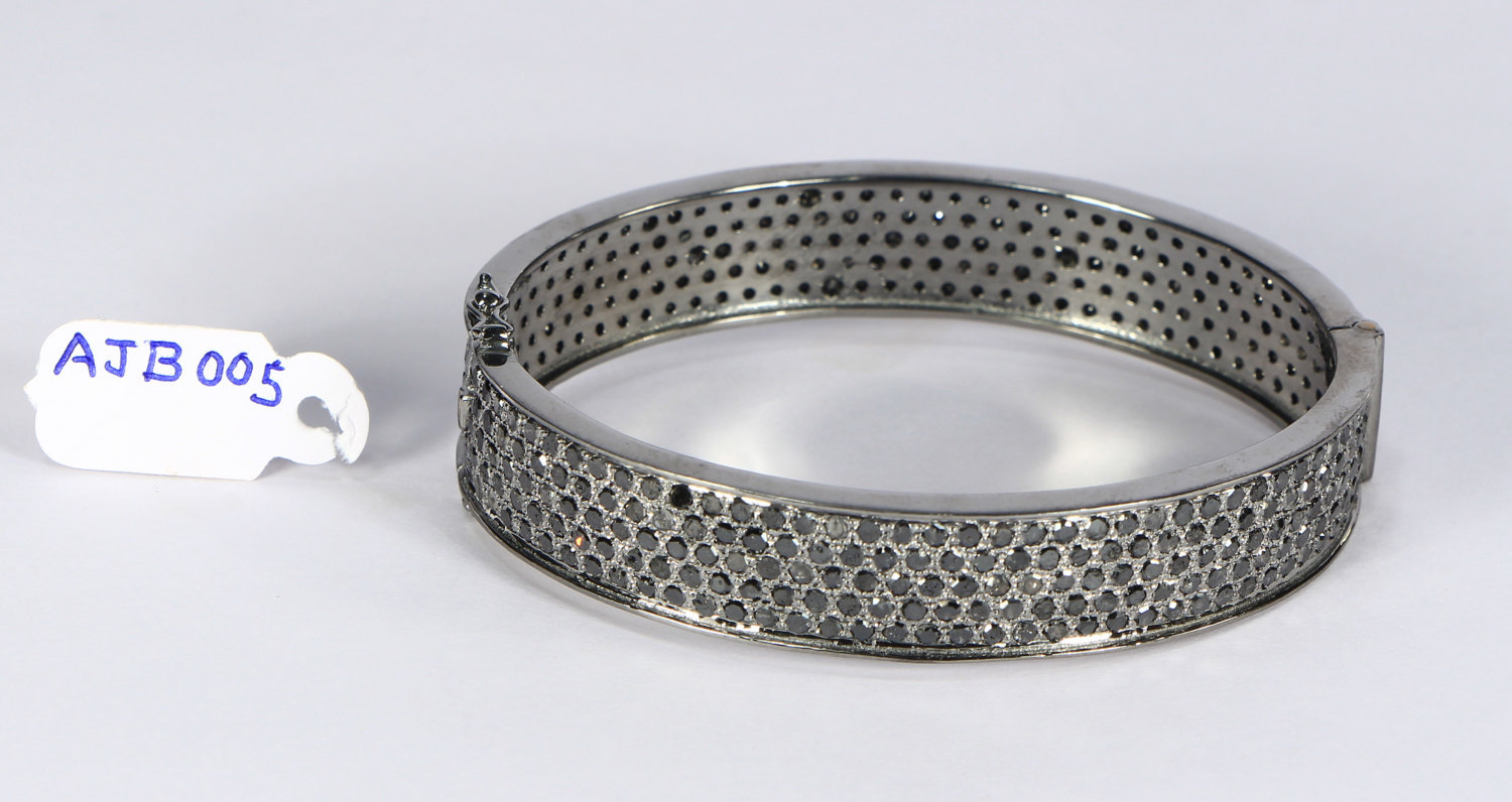 Oval Women Openable Bangle Cuff .925SterlingSilver with 5 rows of Black Diamonds