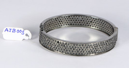 Oval Women Openable Bangle Cuff .925SterlingSilver with 5 rows of Black ... - $816.00