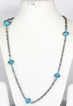 Handmade Women Organic Necklace Chain with Turquoise beads & Pave Diamonds - $285.00