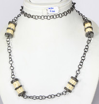Women OrganicNecklace .925 Sterling Silver with Bone and Pave Diamonds - $624.00