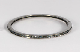 Round Bangle Openable with Clasp .925 Sterling Silver with 1 row Blue Di... - $225.00