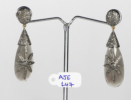 Drop shape Earrings 14Kt Gold .925Sterling Silver with Moonstone & Pave ... - $330.00