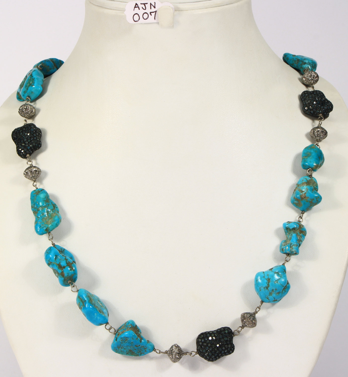 Handmade Women Organic Necklace .925 Sterling Silver with Turquoise & Diamonds