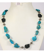 Handmade Women Organic Necklace .925 Sterling Silver with Turquoise & Di... - £1,038.69 GBP