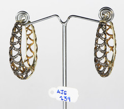 Earrings Hoops Oval 2-tone Oxidized .925 Sterling Silver with Pave Diamonds - $183.00