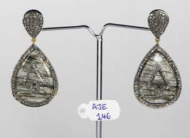 Earrings 14Kt Gold .925 Sterling Silver with Rutilated Quartz & Pave Dia... - $306.00