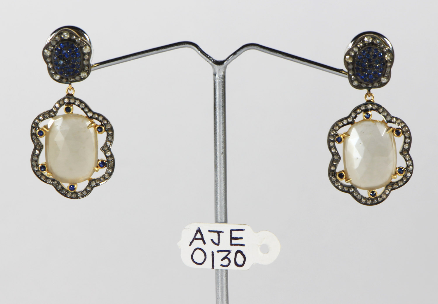 Earrings 14kt Gold .925 Sterling Silver with Sapphire Moonstone & Diamonds