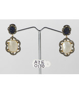 Earrings 14kt Gold .925 Sterling Silver with Sapphire Moonstone & Diamonds  - $390.00