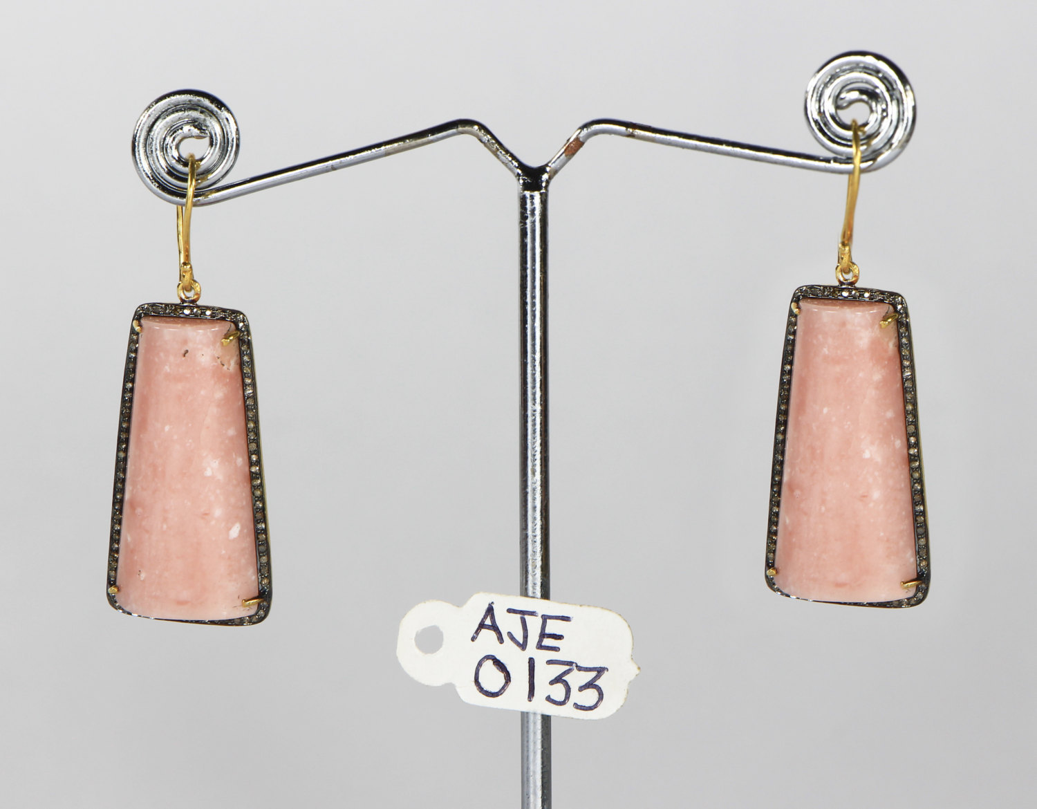 Dangling Earrings .925 Sterling Silver with Pink Opal & Pave Diamonds