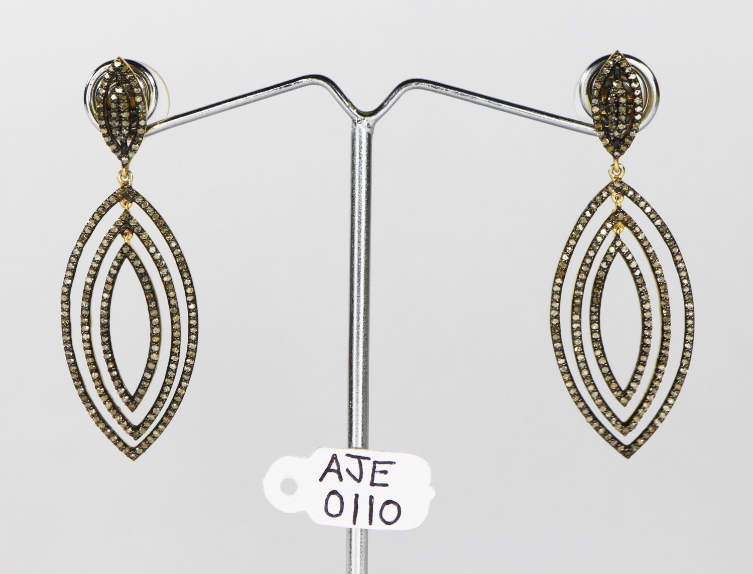Dangling Oxidized Earrings 14kt Gold .925 Sterling Silver with Pave Diamonds