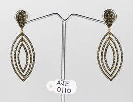 Dangling Oxidized Earrings 14kt Gold .925 Sterling Silver with Pave Diam... - $510.00