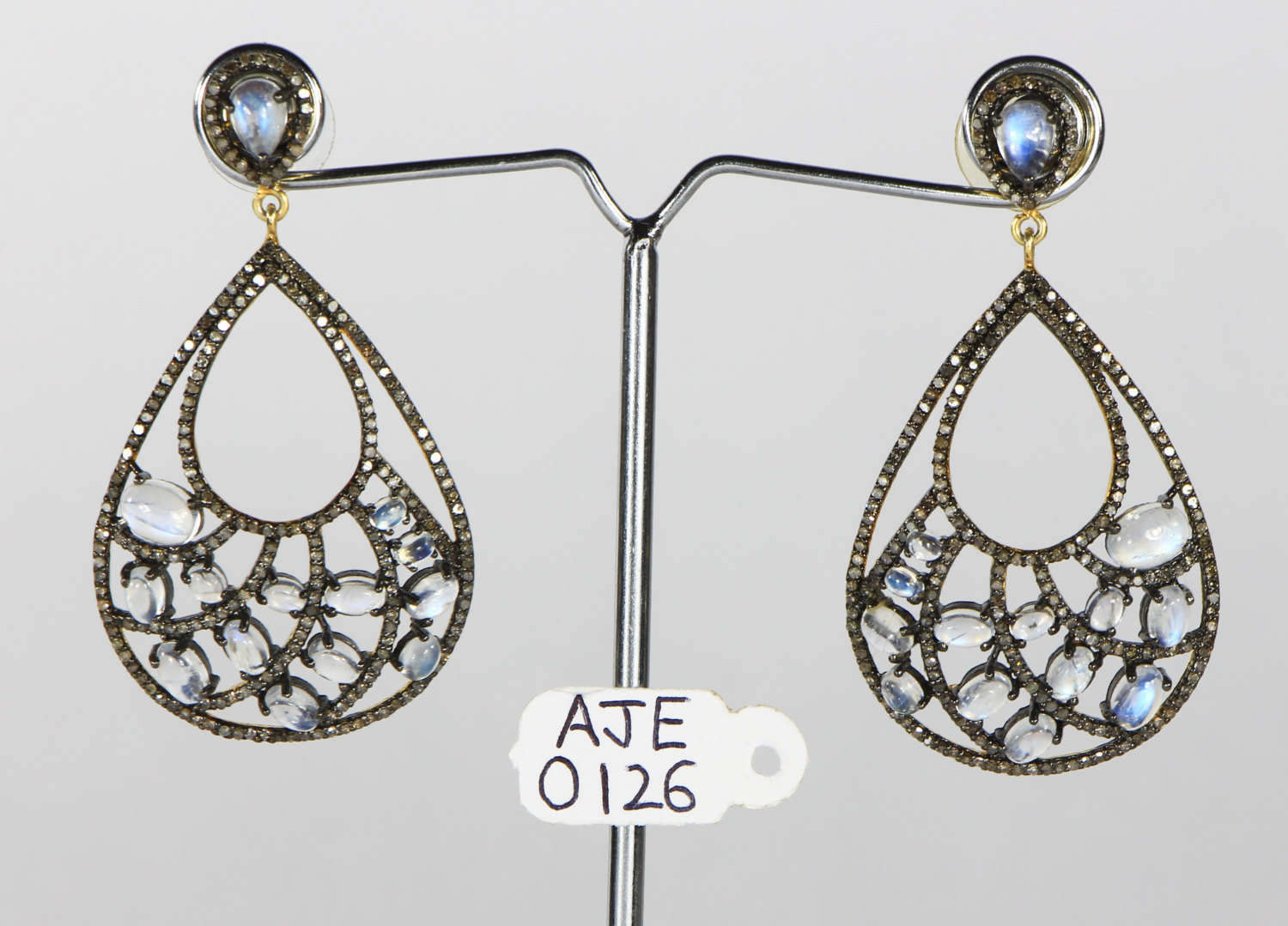 Dangling Earrings with 14KtGold .925SterlingSilver with Moonstone & PaveDiamonds
