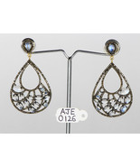 Dangling Earrings with 14KtGold .925SterlingSilver with Moonstone & Pave... - $444.00