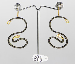 Stylish Snake Design Earrings 14kt Gold .925 Sterling Silver with Pave D... - $384.00
