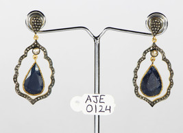 Earrings 14kt Gold .925 Sterling Silver with Blue Sapphire & Pave Diamonds - $330.00