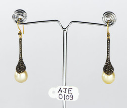 Snake Design Earrings 14kt Gold .925 Sterling Silver with Pearl & Pave D... - $330.00