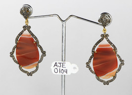 Dangling Earrings 14kt Gold .925 Sterling Silver with Agate and Pave Dia... - $330.00