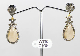 Dangling Earrings .925 Sterling Silver with Moonstone & Pave Diamonds - $239.20