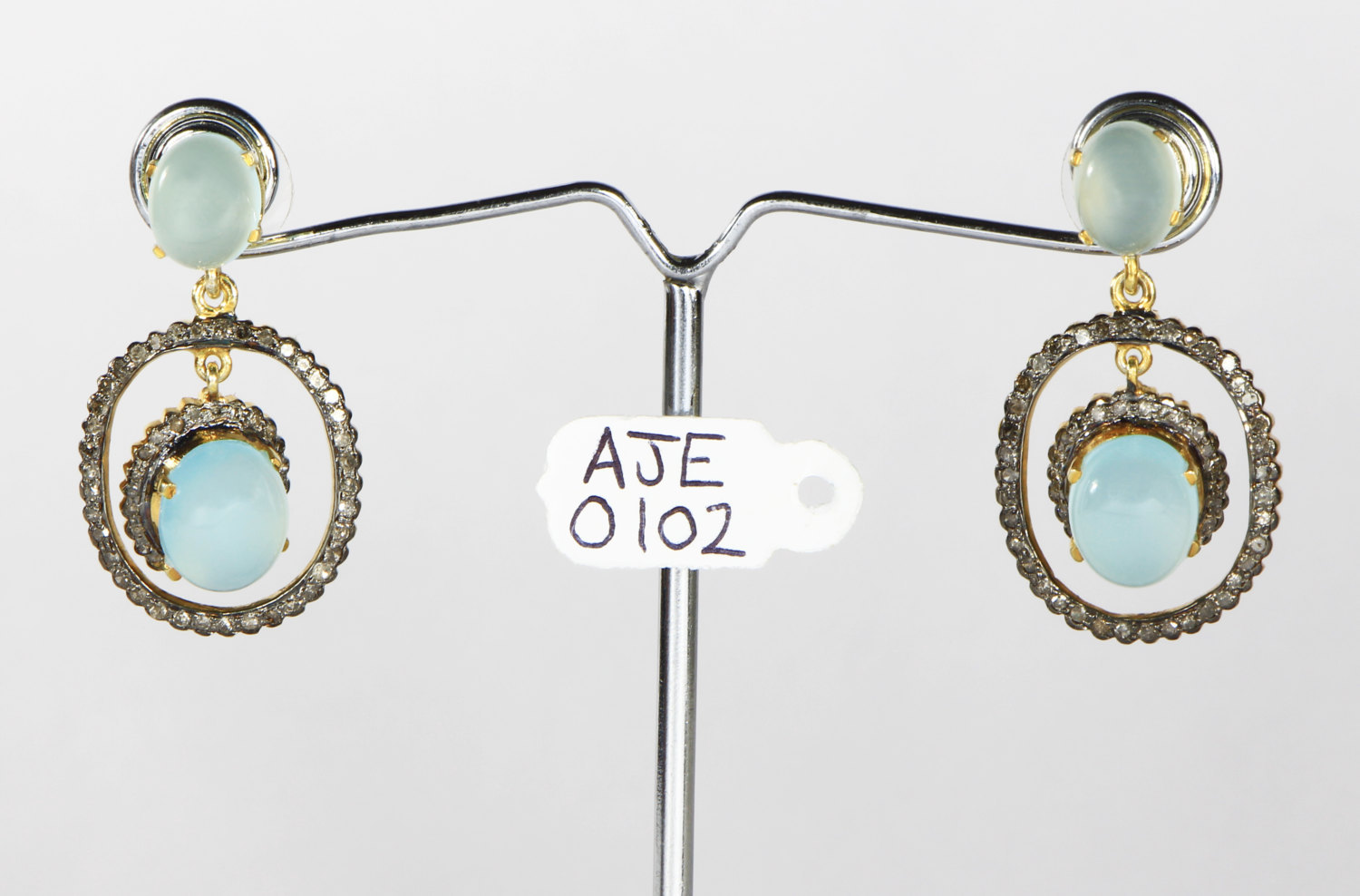 Dangling Oxidized Earrings .925 Sterling Silver with Aquamarine & Pave Diamonds