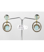 Dangling Oxidized Earrings .925 Sterling Silver with Aquamarine & Pave D... - $252.00