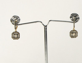 Dangle Earrings 14kt Gold .925 Sterling Silver with Rosecut & Pave Diamond - $225.00