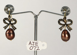 Bow Earrings 14ktGold .925Sterling Silver with Colored Pearl & Pave Diam... - $405.00