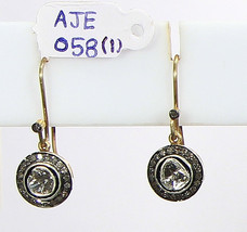 Round shape Dangle Earrings .925 Sterling Silver with Rosecut & Pave Dia... - $225.00