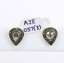 Earrings Studs 14kt Gold .925 Sterling Silver with Rosecut & Pave Diamonds  - $285.00