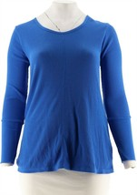 cee bee CHERYL BURKE Long Sleeve Thermal Pullover Top Lapis Blue M NEW A... - $17.79