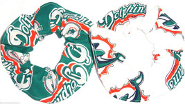 2 Miami Dolphins White Teal Fabric Hair Scrunchie Scrunchies by Sherry NFL - $13.95