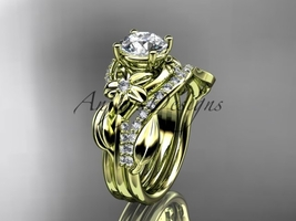 14k yellow gold diamond  engagement set with a Moissanite center stone A... - $2,375.00