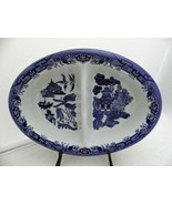Churchill of England - Blue Willow - oval Divided Vegetable serving Bowl... - $33.17