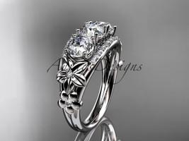 14kt white gold diamond flower 3 stone Moissanite wedding ring ADLR203 - $1,675.00