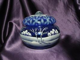 Fenton Heirloom Optics 2003 Hand Painted Snow Winter Scene Blue Glass Ar... - $94.05