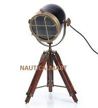 Nauticalmart Vintage Brass Finish Black Metal Table Tripod Lamp - $74.25