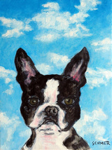 animal Art oil painting printed on canvas home decor BOSTON TERRIER sky dog - $12.99+