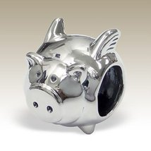 Flying Pig Charm, Pig with Wings, 925 Sterling Silver for Charm Bracelet... - €14,68 EUR