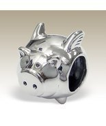 Flying Pig Charm, Pig with Wings, 925 Sterling Silver for Charm Bracelet... - $18.00
