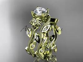14k yellow  gold diamond wedding ring, engagement ring, Moissanite ADLR151S - $1,775.00