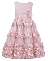 Big Girls Tween 7-16 Coral Flutter Bonaz Rosette Mesh Overlay Dress