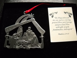 Cathedral Art Christmas Ornament Nativity O Come Let Us Adore Him Metal ... - $10.99
